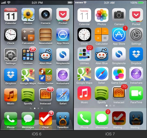 iOS6 versus iOS7 homescreen comparison
