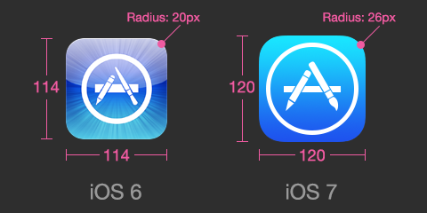 ios 6 versus iOS 7 icons comparison
